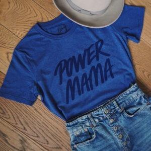 POWER MAMA t-shirt fra Flirty Birdy (blå)